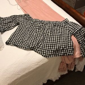 Off the should plaid top